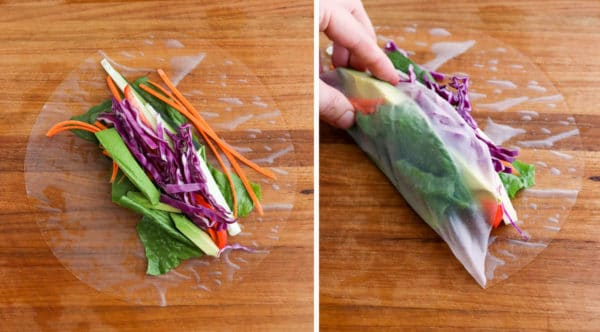 veggies added to wet spring roll paper