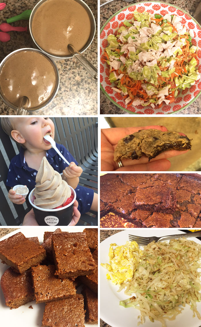 "chocolate superfood shake, salad in a bowl, cup of vanilla ""freeze"", pumpkin bars, and a plate of sautéed cabbage with scrambled eggs"
