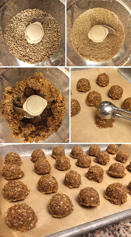 making pumpkin energy bites in a food processor and scooping them out onto a cookie sheet