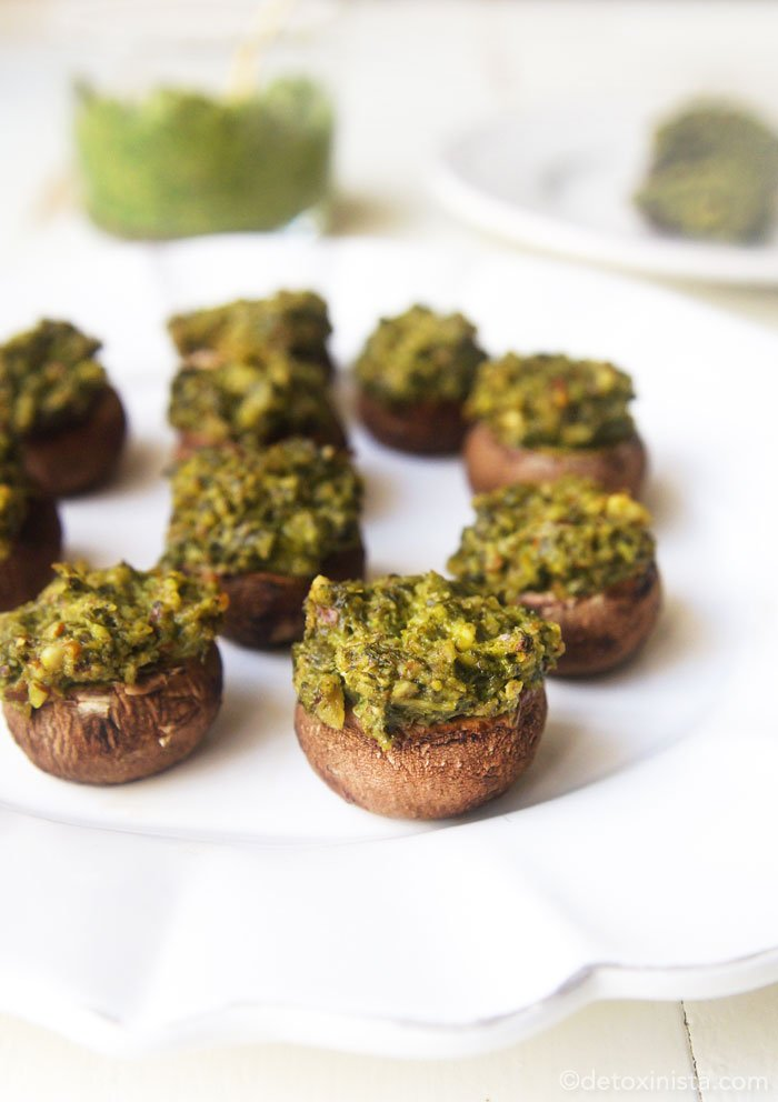 stuffed pesto mushrooms on a plate