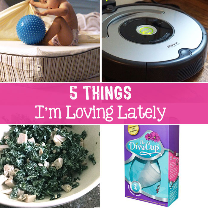 mattress, roomba, salad in a bowl, and diva cup