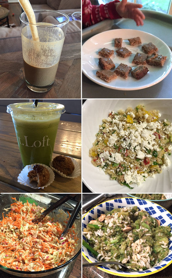 smoothie in a glass cup, plate with cut up toast, green juice with energy bites, quinoa pasta salad, Chinese cabbage salad, and beef and broccoli