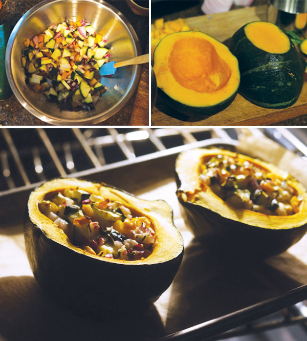 making Stuffed Kabocha Squash