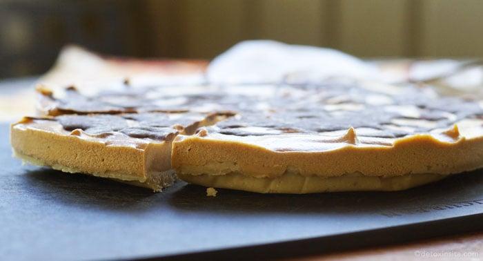 side view of pumpkin chocolate cheesecake