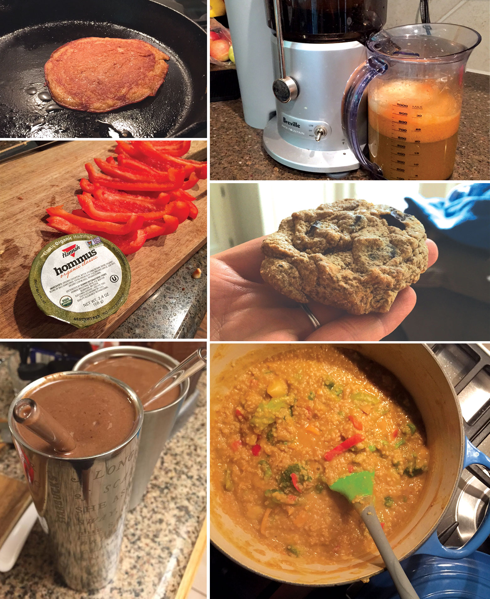 pumpkin pancakes, hummus with cut red pepper slices, cashew butter cookie, chocolate smoothie, and pumpkin curry in a pot