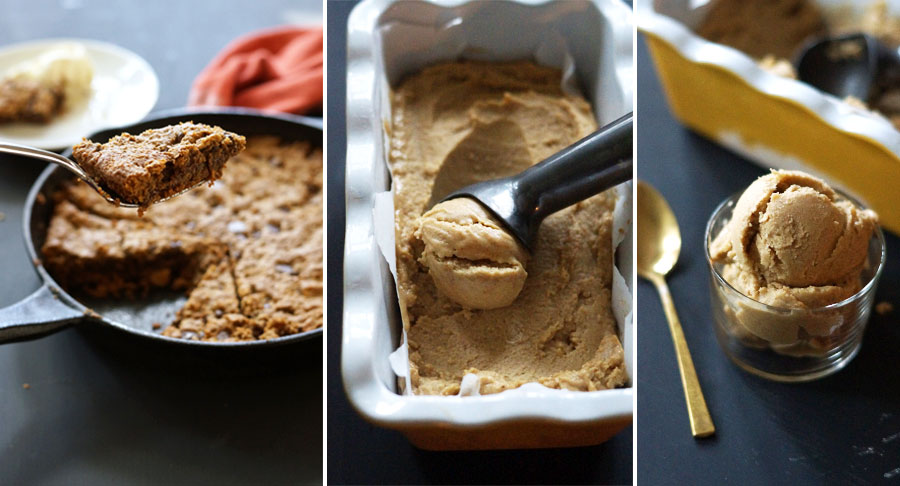chocolate chip cookie skillet and almond butter ice cream