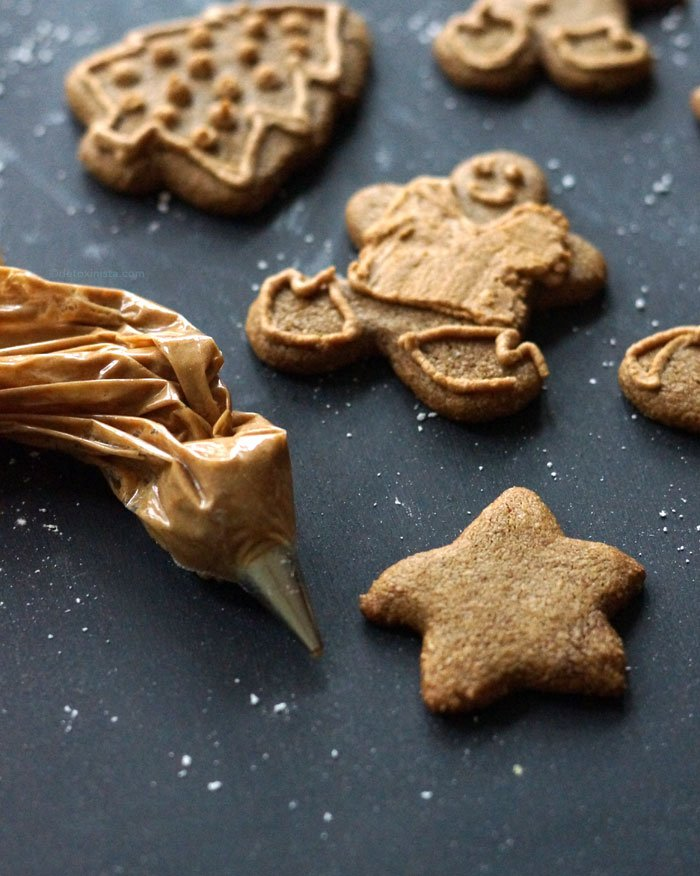 gingerbread cookies decorated with coconut sugar icing