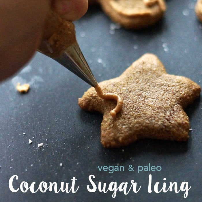 decorating gingerbread cookies with coconut sugar icing