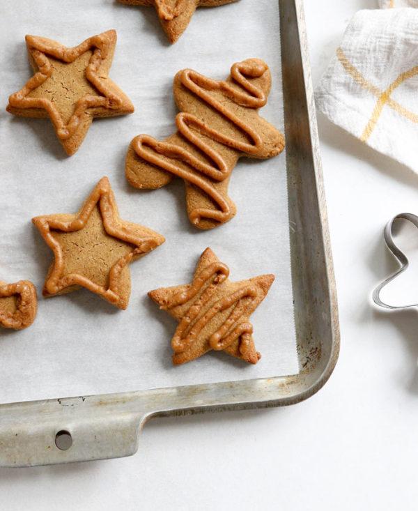 healthy gingerbread cookies overhead on pan