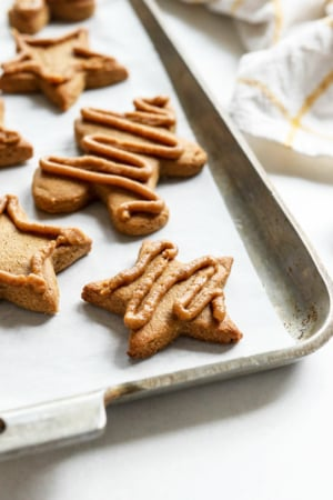 gingerbread cookies on a pan