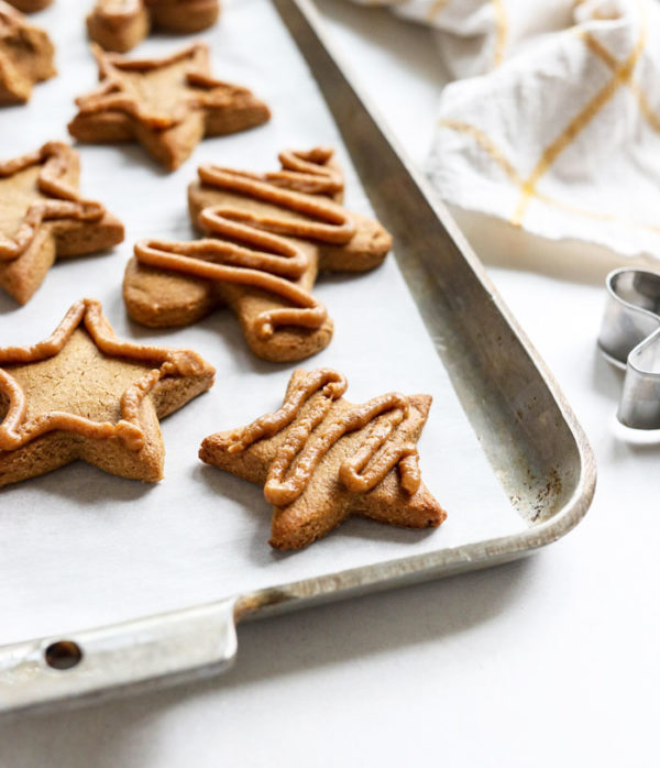 gingerbread cookies on a pan