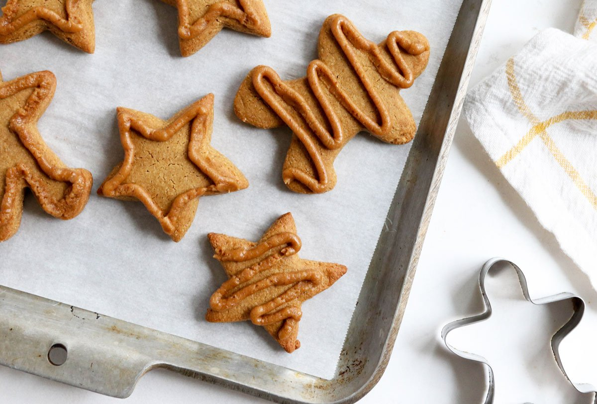 healthy gingerbread cookies with coconut sugar icing