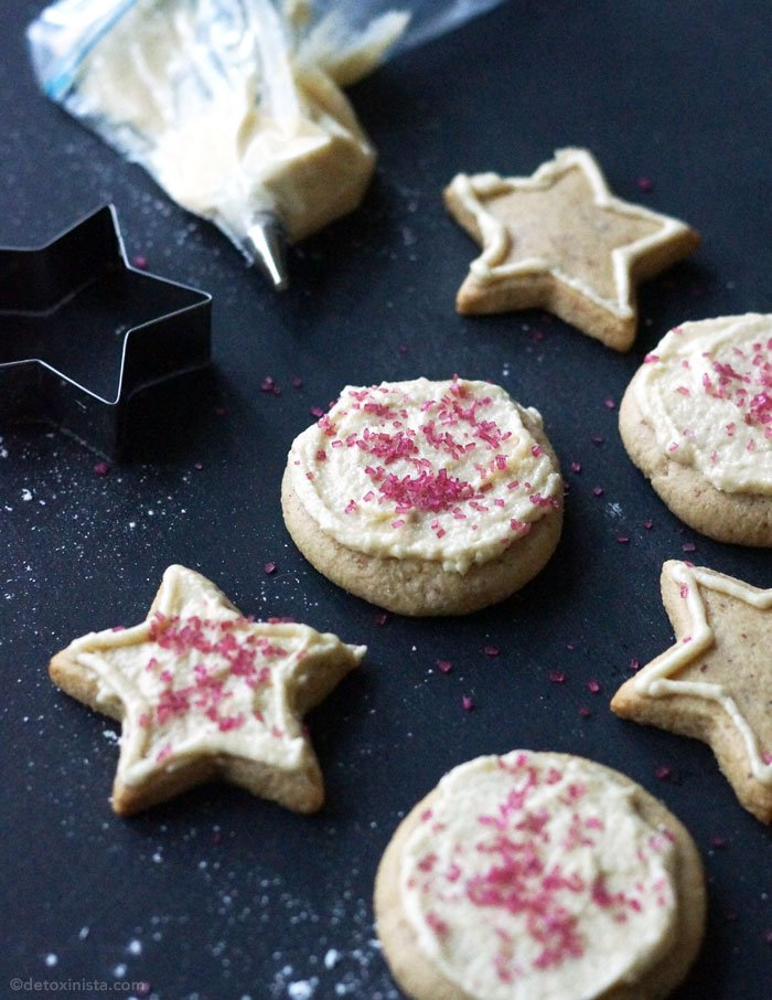 paleo iced sugar cookies with sprinkles on top