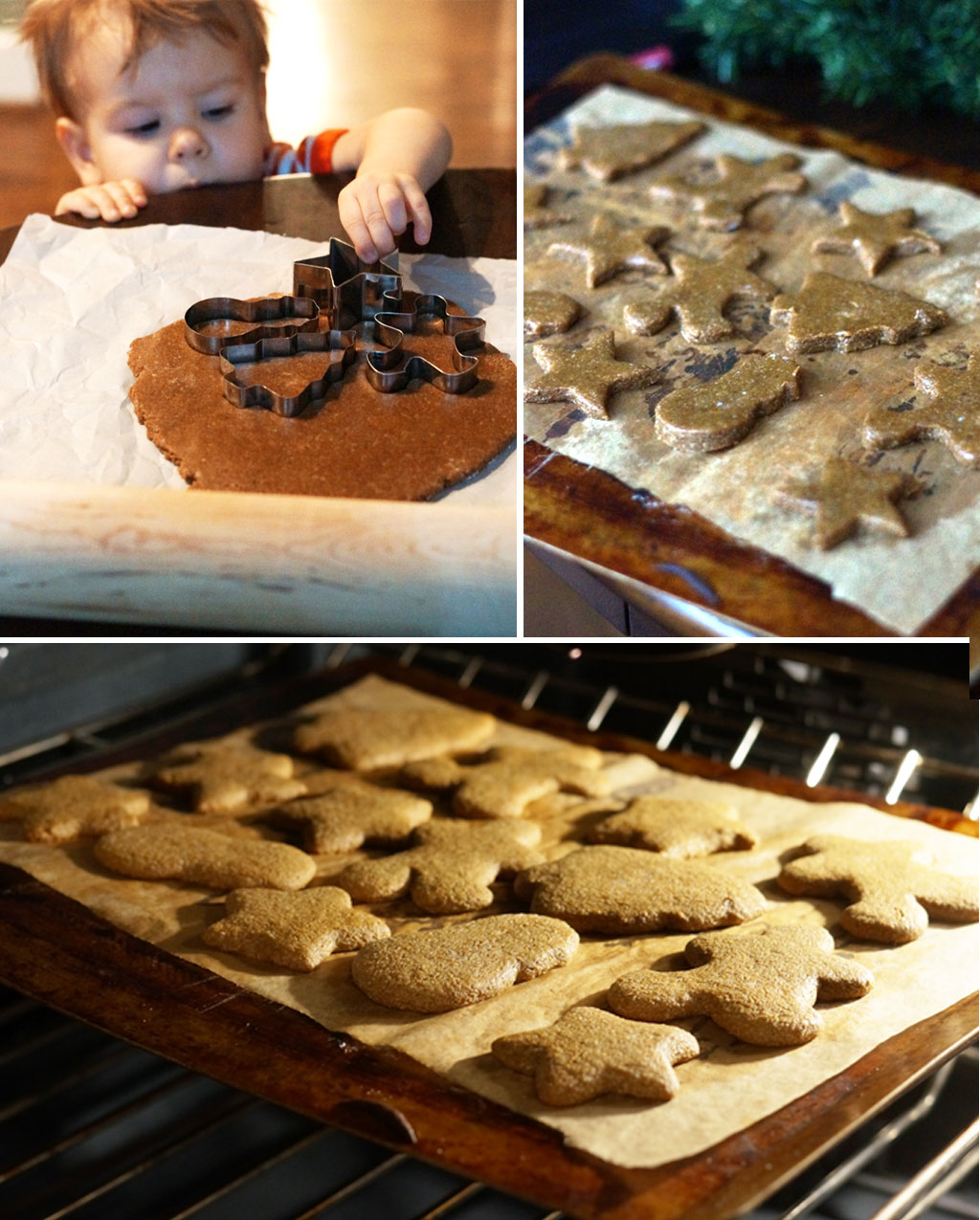 cutting out and baking gingerbread cookies