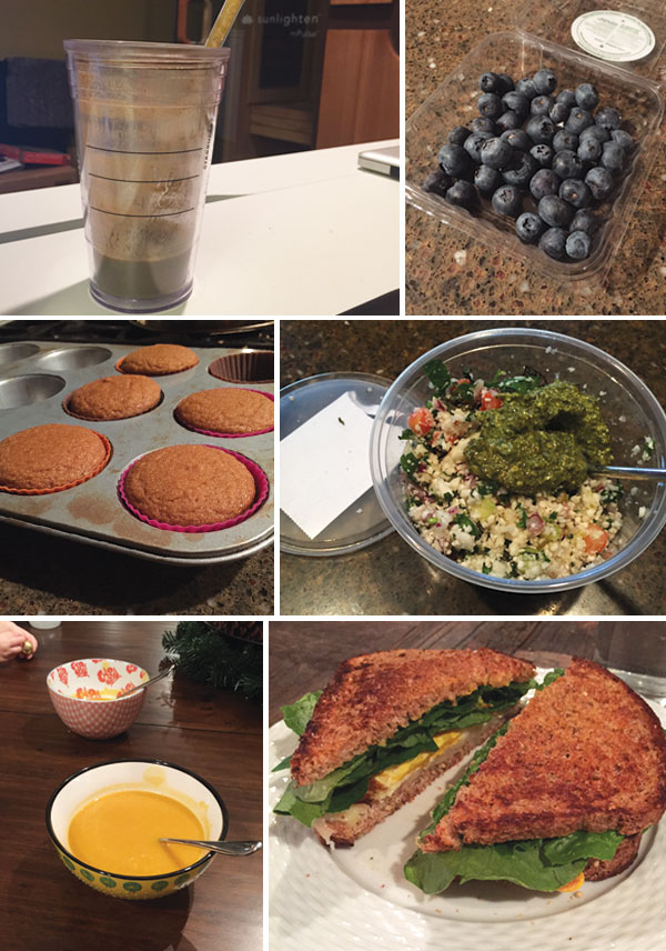smoothie in a cup with a straw, blueberries, eggnog cupcakes in a cupcake tin, quinoa salad in a glass bowl, butternut soup, and grilled egg sandwich