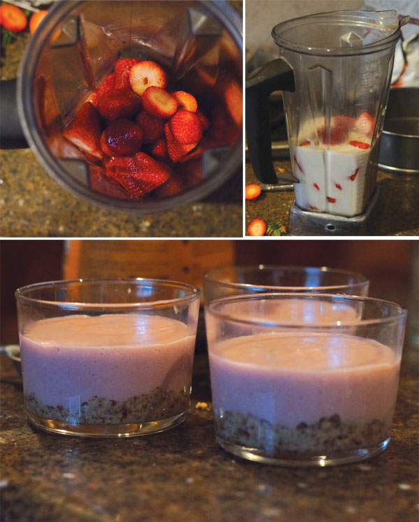 strawberries in a blender and glass containers with pie filling