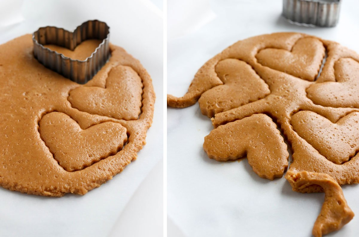 hearts cut out of rolled dough