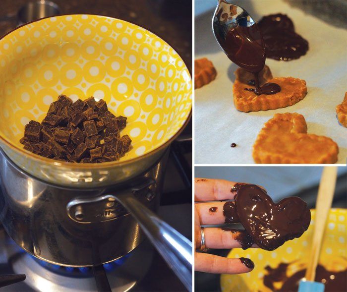making chocolate peanut butter hearts