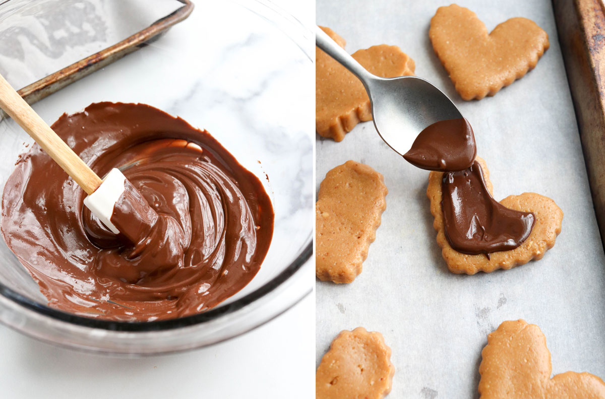melted dark chocolate spread on hearts