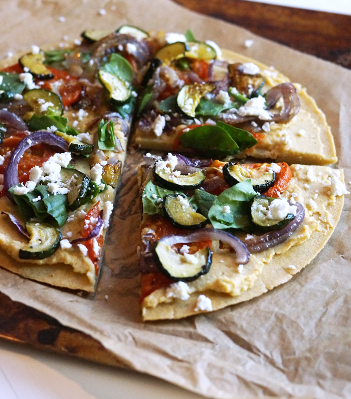 mediterranean flatbread pizza cut into slices