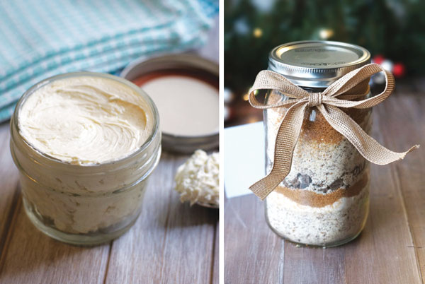 lotion and cookie mix in a jar
