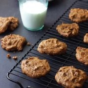 Vegan Chickpea Chocolate Chip Cookies with a glass of milk