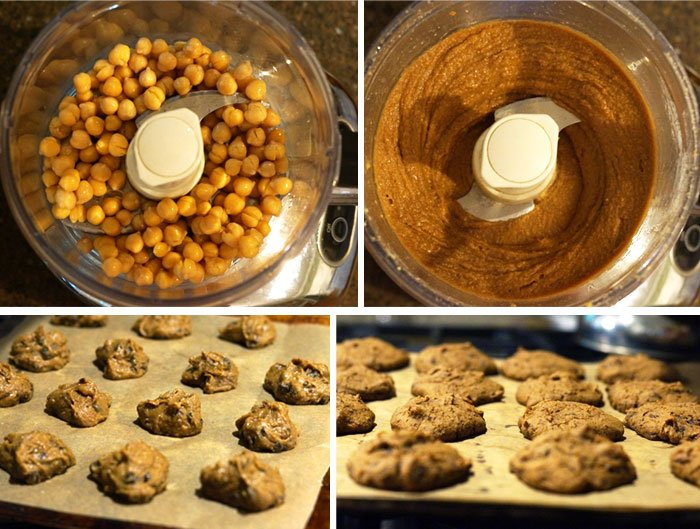 chickpea chocolate chip cookie batter in a processor and placed on a cookie sheet