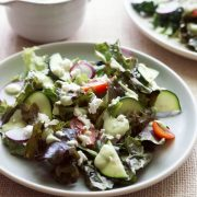 Salad with Creamy Cucumber Tahini Salad Dressing