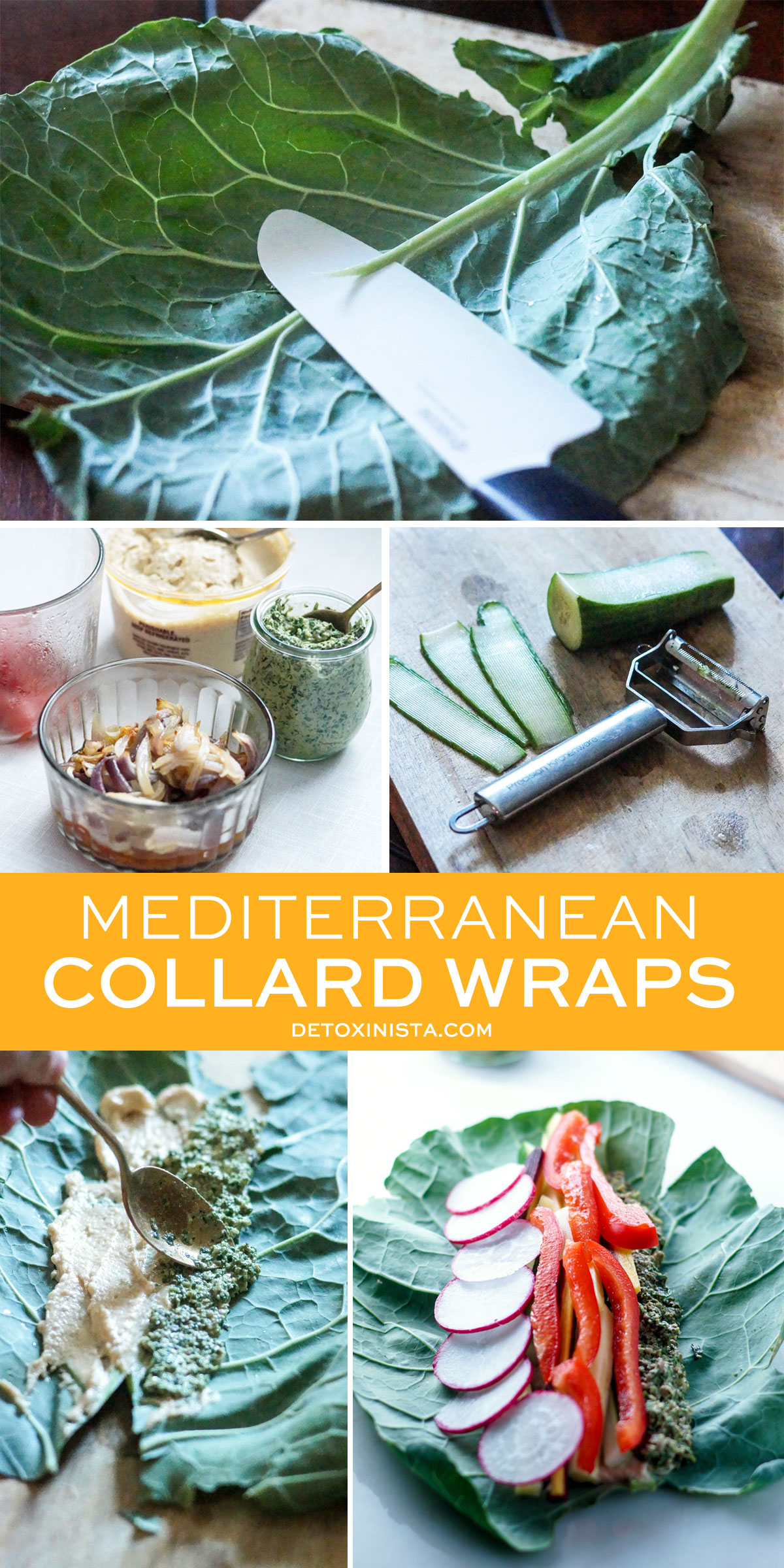 assembling mediterranean collard wraps