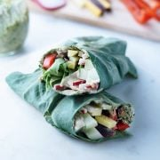 healthy collard wrap stacked