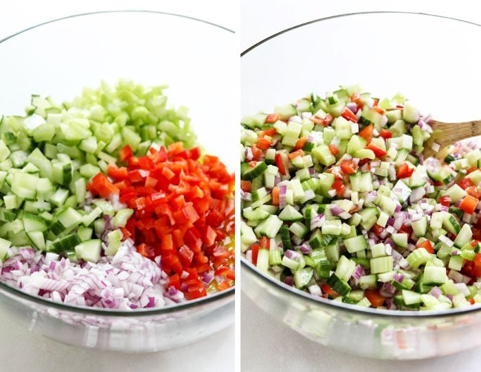 chopped vegetables in a bowl with dressing