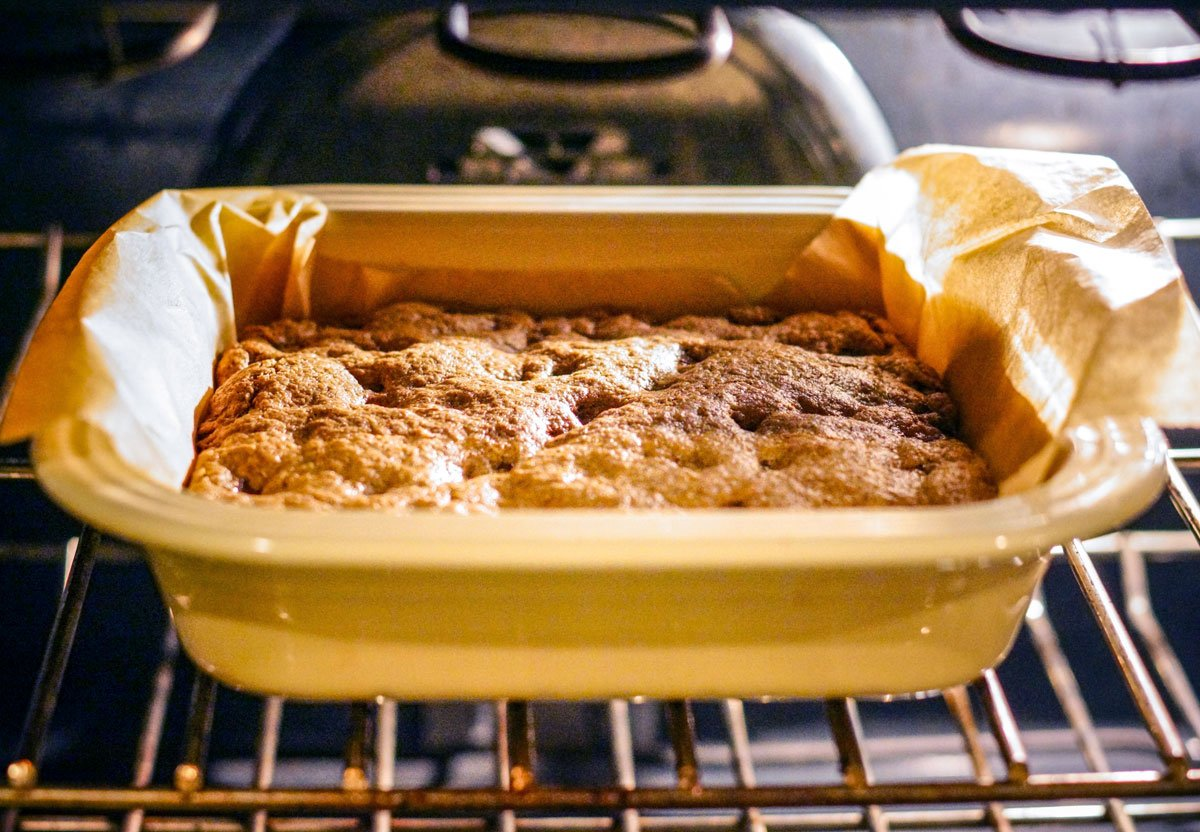 almond butter blondies in the oven