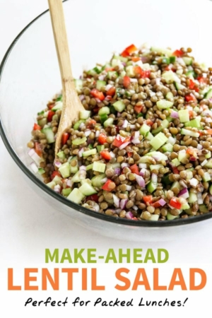 lentil salad pin for pinterest