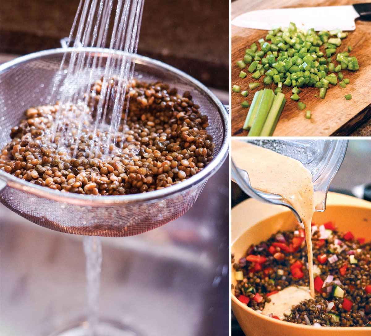 rinsing lentils with water in a strainer, cutting celery on a cutting board, and pouring dressing over lentil salad