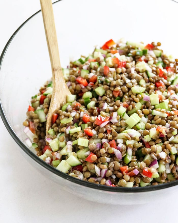 lentil salad in a bowl