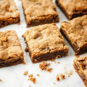 almond butter blondies cut