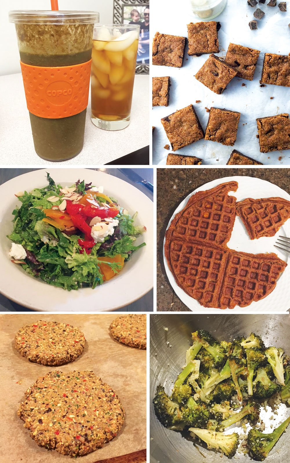 smoothie in a cup, almond butter blondies, salad in a bowl, freezer waffles, veggie burger, and broccoli