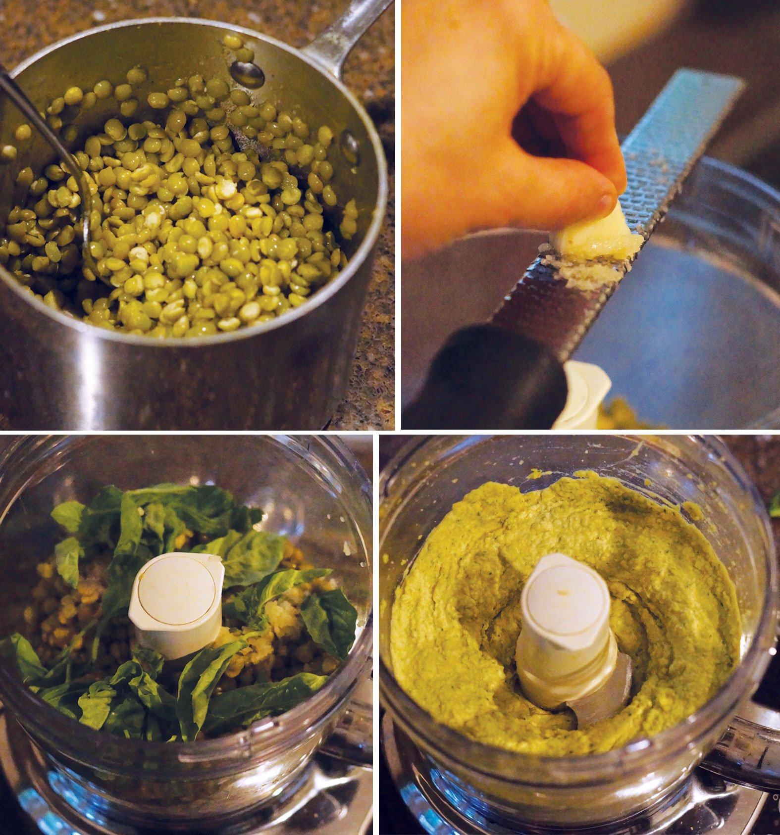 making split pea pesto in a food processor