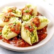 Split pea pesto stuffed shells