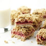 Stacked Strawberry Oat Crumble Bars