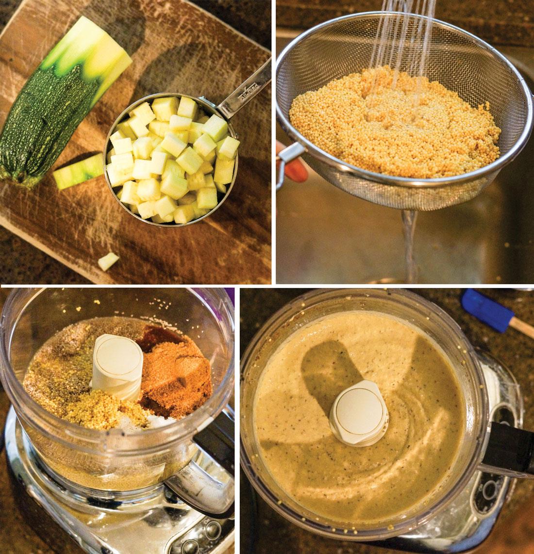 chopped zucchini in a measuring cup and preparing vegan skillet cornbread in a food processor