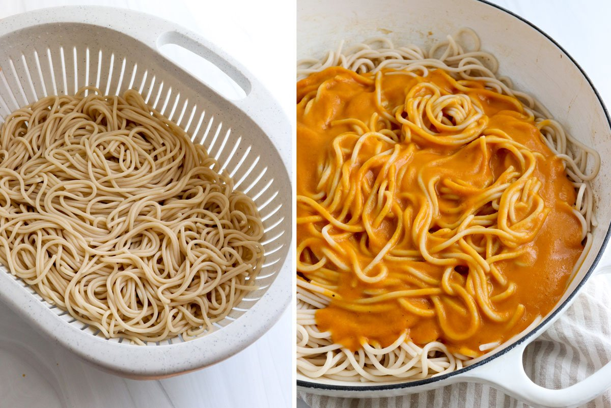 cooked pasta combined with pumpkin pasta sauce in skillet