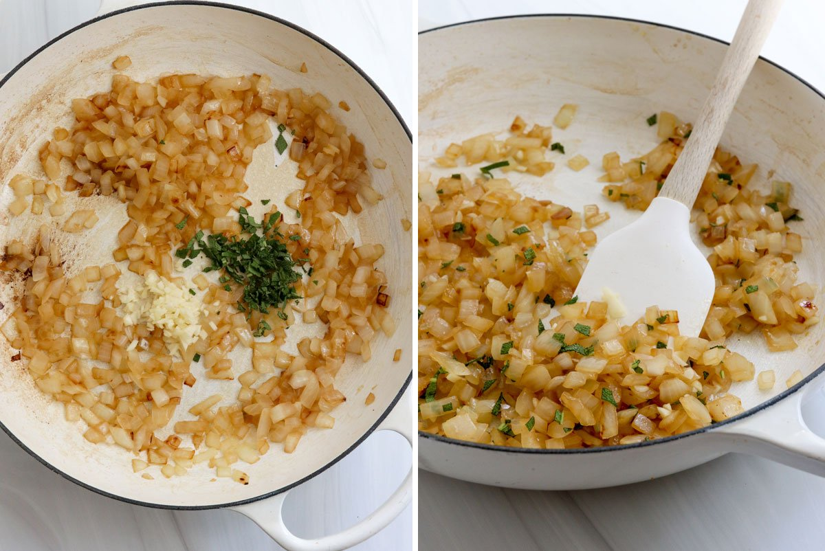 sage and garlic sauteed into onions