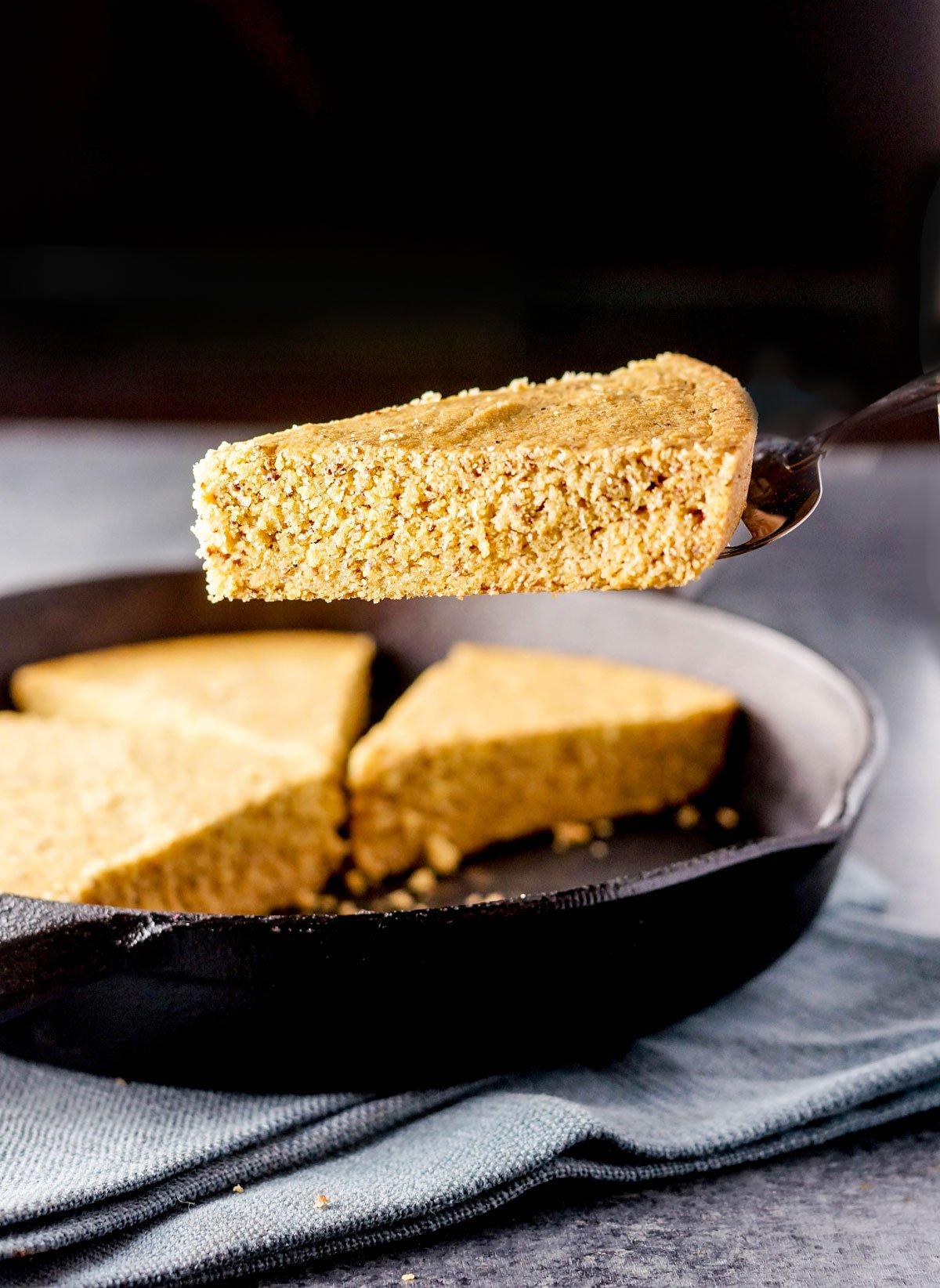 piece of vegan skillet cornbread