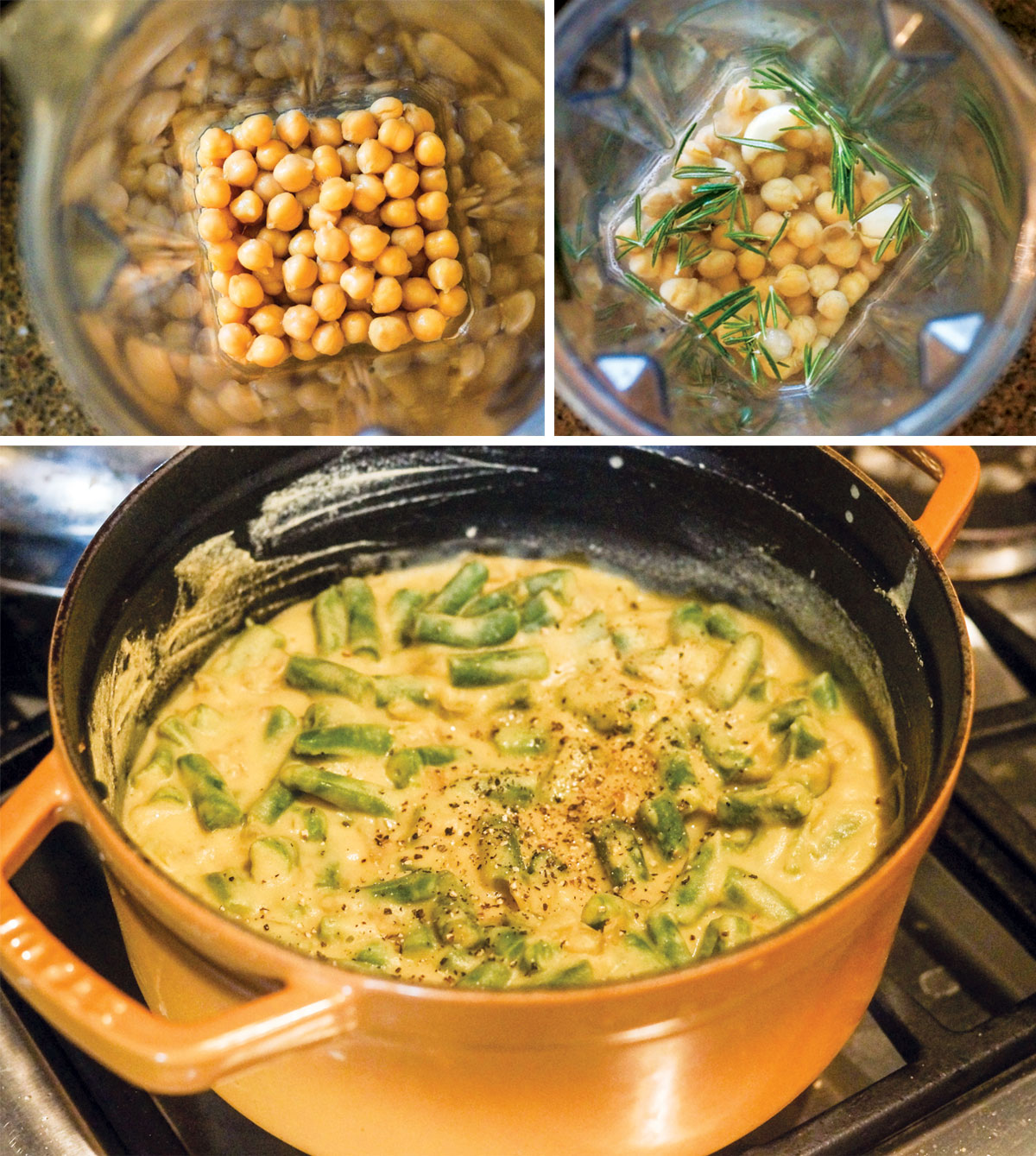 chickpeas in a blender and chickpea creamy sauce in a pot