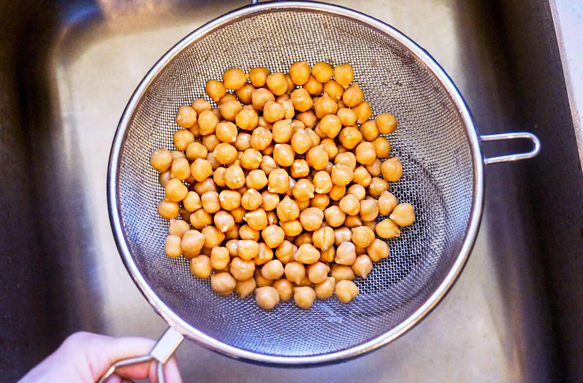 chickpeas in a strainer