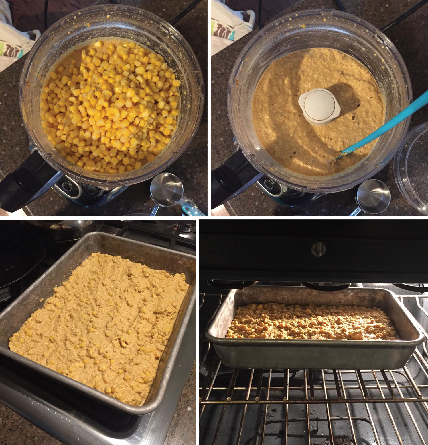 vegan corn casserole casserole being prepared and put into a baking pan