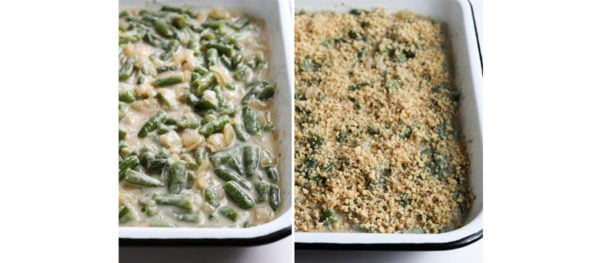 green beans and topping in casserole dish