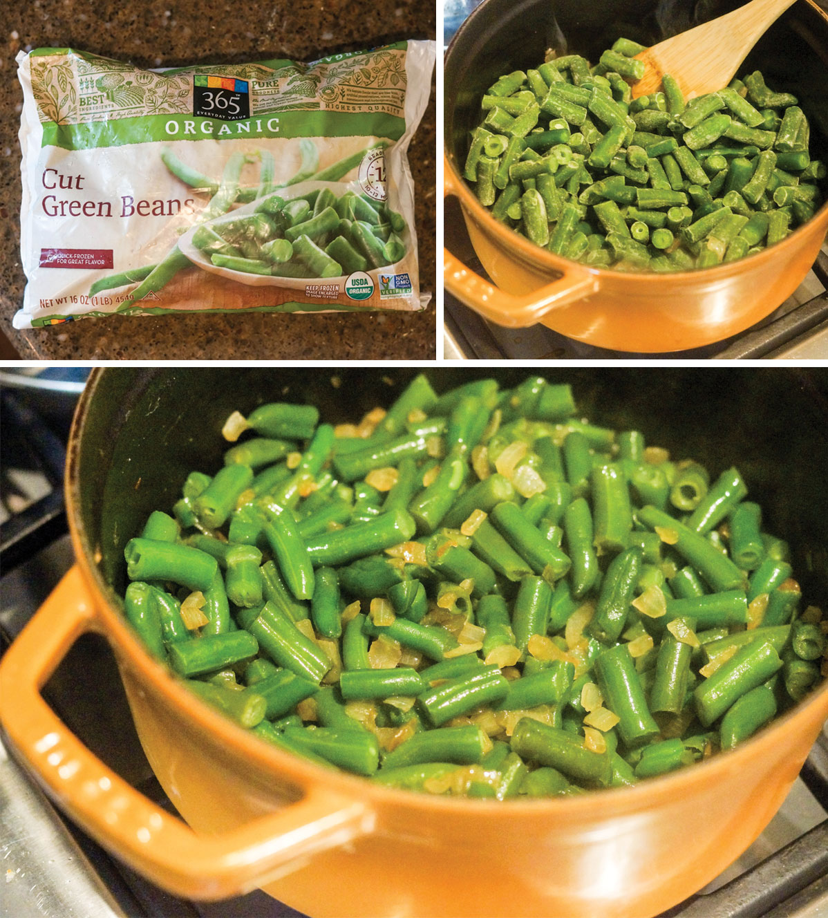 green beans in a bag and in a pot