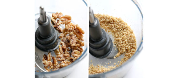 walnuts processed in food processor